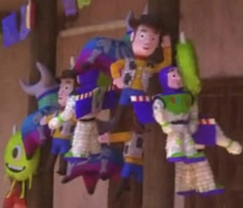 Woody, Buzz Lightyear and Mike Wazowski Pinatas (Close-Up)