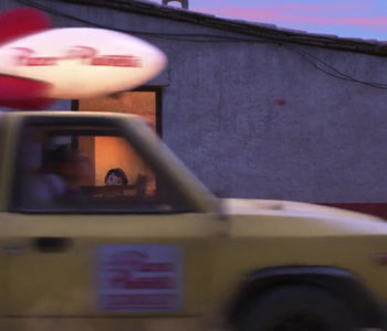 A Pizza Planet Truck Playing Music