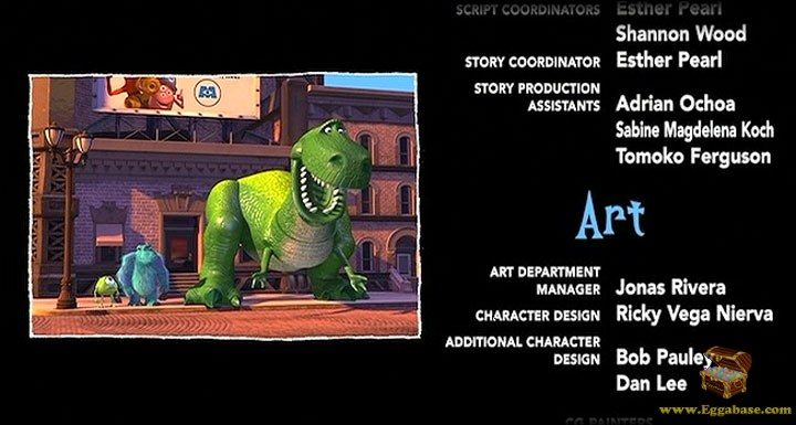 Rex at the Crosswalk (Credits) - Monsters Inc easter eggs