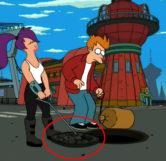 Leela Pulling PJs Manhole Cover (I Second That Emotion)
