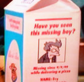 Futuramas Fry on the Milk Carton (Zoomed)