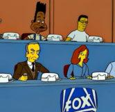 (L – R) Bender, Thurgood Stubbs, Hank Hill, Luke Perry, Rupert Murdoch, Scully and Mulder