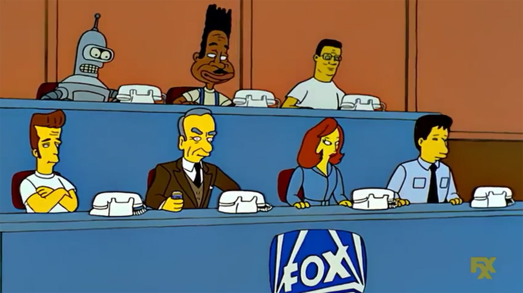 Bender, Thurgood Stubbs, Hank Hill, Luke Perry, Rupert Murdoch, Scully and Mulder Cameos - The Simpsons Easter Eggs