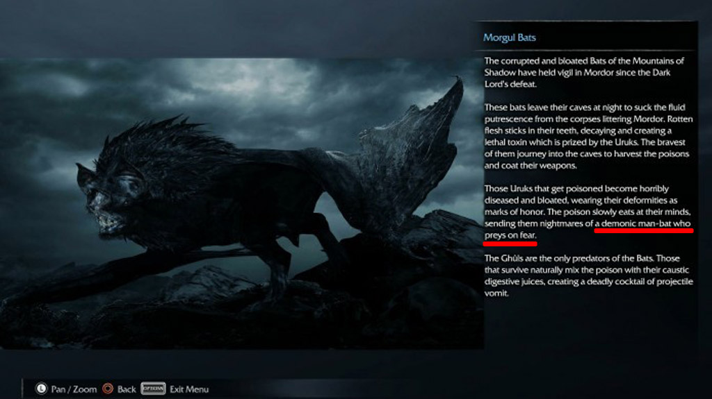 Morgul Bats Batman Reference - Middle-Earth: Shadow of Mordor Easter Eggs