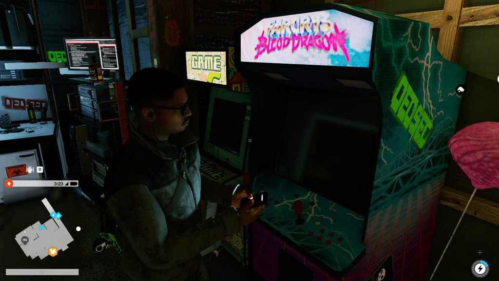 Far Cry Blood Dragon Arcade Cabinet (Side) - Watch Dogs 2 Easter Eggs