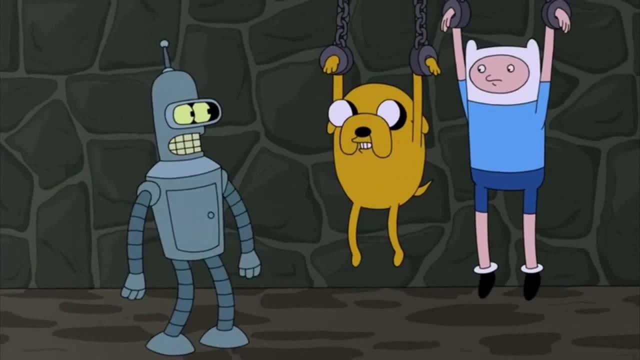 Jake and Finn (Adventure Time) Cameo - Futurama Easter Eggs